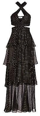 A.L.C. Women's Lita Silk-Blend Metallic Dot Print Tiered Dress