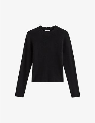 Claudie Pierlot Mochi scallop-trim knitted jumper