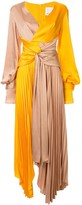 Empire colour-block pleated gown