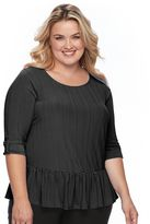 Apt. 9 Plus Size Ribbed Peplum Top