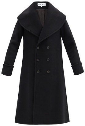 Loewe Double-breasted Wool-blend Overcoat - Black