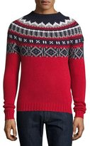Moncler Fair Isle Crewneck Sweater, Red/Multi