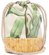 Glorinha Paranagua Saigon Leaf-print Canvas And Bamboo Bucket Bag - Womens - Green Multi