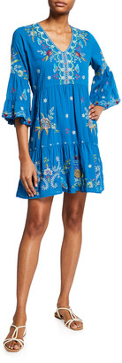 Johnny Was Arzella V-Neck Easy-Fit Tiered Dress