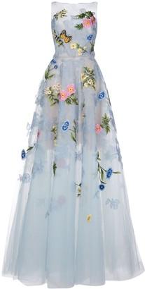 Oscar de la Renta Floral Embroidery Evening Gown