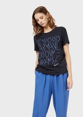 Emporio Armani Pima Jersey T-Shirt With Raised Logo