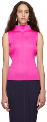 Pleats Please Issey Miyake Pink Pleated Sleeveless Turtleneck