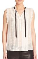Joie Toledo Sleeveless Silk Swiss Dot Blouse