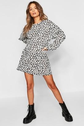 boohoo Leopard Print Balloon Sleeve Oversized Sweatshirt Dress