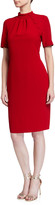 Badgley Mischka Mock-Neck Sheath Dress with Buttons