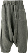 Issey Miyake drop crotch cropped trousers - men - Linen/Flax - 3