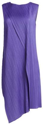 Pleats Please Issey Miyake Drape Pleats Asymmetric Hem Dress