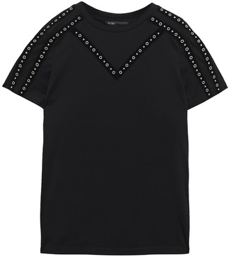 Maje Tabloid Embellished Modal And Wool-blend Jersey T-shirt