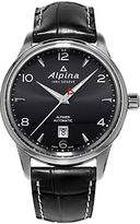 Alpina Al-525b4e6 Alpiner Automatic Leather Strap Watch, Black