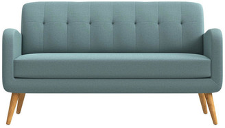 Kenneth Mid Century Modern Sofa, Linen With Natural Legs, Light Blue