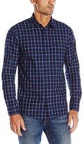 Dockers Long Sleeve Indigo Dye Multi Plaid Chambray Woven Shirt