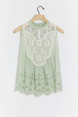Bl Nk Bl-nk Rayna Eyelet and Lace-Detailed Top
