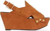 Chloé Suede Wedge Sandals - Tan
