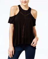 Jessica Simpson Primrose Crochet-Trim Cold-Shoulder Top