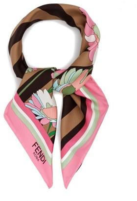 Fendi Floral-print Silk Scarf - Womens - Pink