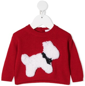 Il Gufo Dog-Applique Crew Neck Sweater