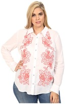 Stetson Plus Size White Voile Long Sleeve Woven Shirt