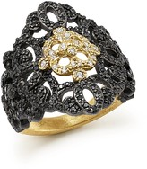 Armenta 18K Yellow Gold and Blackened Sterling Silver Old World Filigree Diamond and Black Sapphire Ring