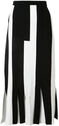 Ports 1961 Stripe-Block Pleated-Hem Knitted Skirt