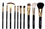 ACEVIVI 10 Pcs Natural Makeup Cosmetics Brush Set with Synthetic Leather Case Black