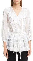 Givenchy Women's Ruffle Crepon Peasant Blouse
