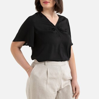La Redoute Collections Plus V-Neck Blouse with Short Sleeves