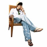 QIYUN.Z Men Casual Wide Legs Straight Long Pants Solid Linen Trousers Pantalon Cargo