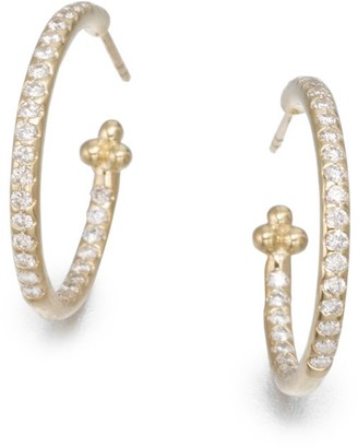 "Temple St. Clair Classic Diamond & 18K Yellow Gold Hoop Earrings/0.7"""