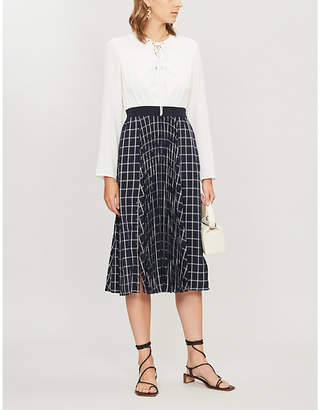 Ted Baker Checked A-line crepe midi dress