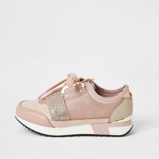 River Island Girls Pink diamante strap runner trainers