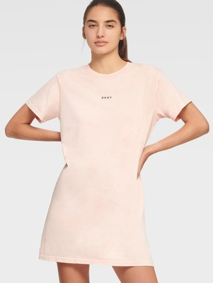 DKNY Women's Washed Ruched Back T-shirt Dress - Rosewater - Size XL