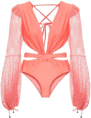 PatBO Mesh-Sleeve Swimsuit