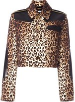 Givenchy leopard print grain de poudre jacket - women - Silk/Calf Leather/Viscose/Wool - 36