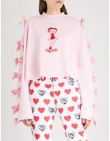 Lazy Oaf x Betty Boop bow-embellished cotton-jersey sweatshirt