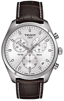 Tissot T1014171603100 Pr 100 Chronograph Date Leather Strap Watch, Dark Brown/silver