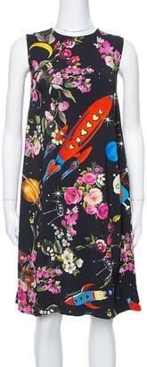 Dolce & Gabbana Black Crepe Rocket & Floral Print Sleeveless Shift Dress S
