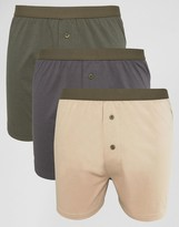 Asos Jersey Boxers In Khaki & Stone 3 Pack SAVE