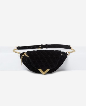 The Kooples Stella black velvet waist bag