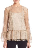 Alberta Ferretti Long Sleeve Lace Blouse