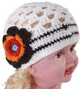 Dahlia Cute Stripe Flower Hand Crochet Acrylic Baby Beanie Hat