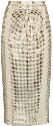 ANOUKI Disco Ball Midi Pencil Skirt