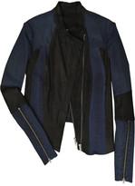 Worker Dark leather and denim jacket