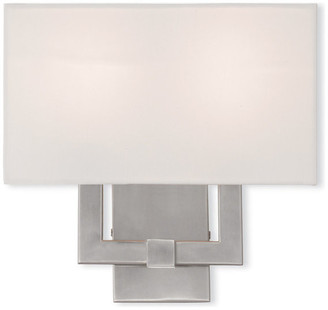 Livex Lighting Wall Sconce w/ Handcrafted Off-White Fabric Hardback Shade, Brushed Ni