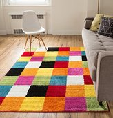 Modern Rug Squares Multi Geometric Accent 5' x 7' Area Rug Entry Way Bright Kids Room Kitchn Bedroom Carpet Bathroom Soft Durable Area Rug