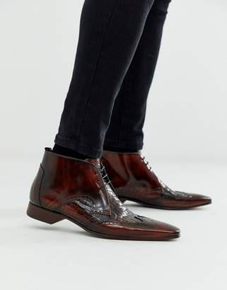 Jeffery West Escobar brown boot in brown croc leather